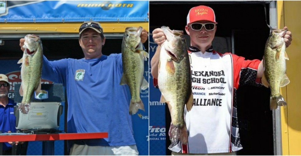 Pictured from left to right: Tournament winner - Jake Lee, Jake Mims holds 7-2 largemouth that won Big Bass honors