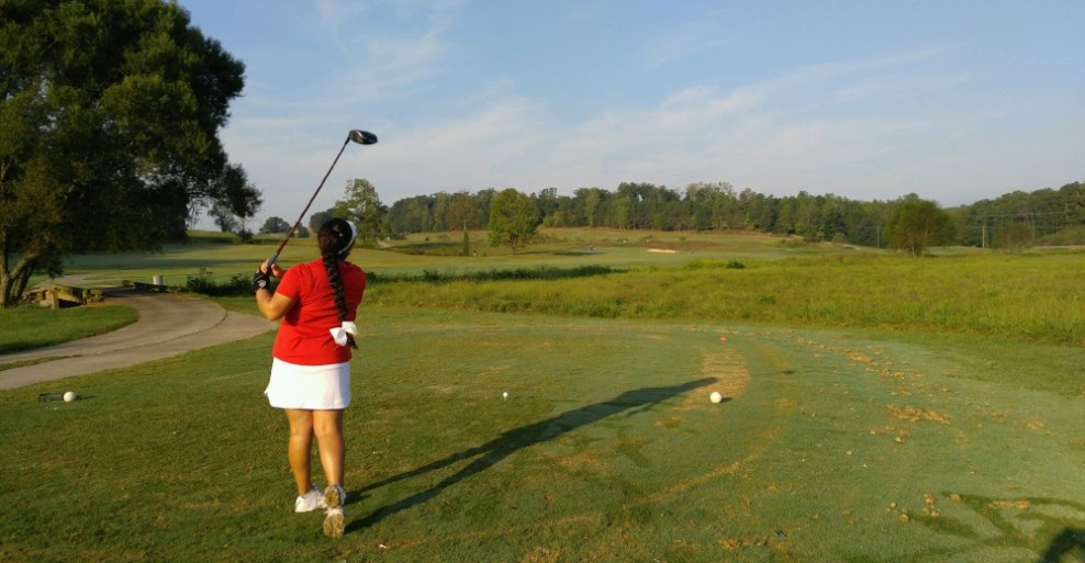 Pictured: Sarah Falcon teeing off on hole 10 at 2016 Reinhardt Invite