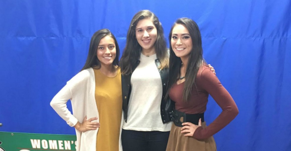Pictured from left to right: First Team members Ruth Rosales, Morgana Hardt da Silva, and Hana Mizoguchi
